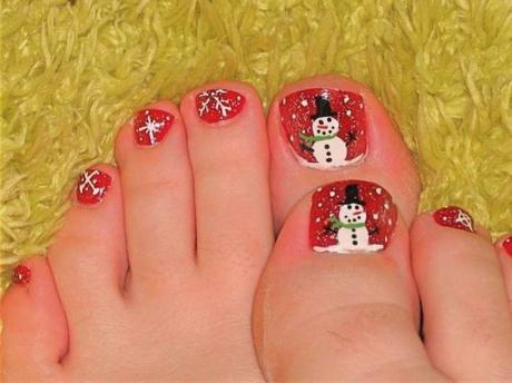 snowman toe nails