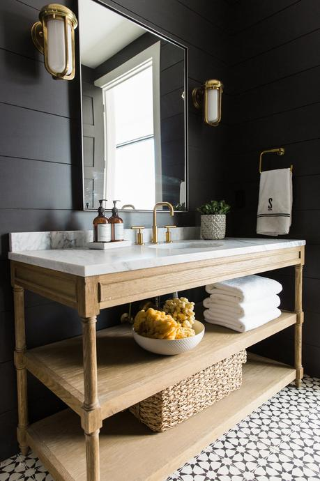 bathroom design trends of 2019 black bathroom wood vanity gold sink hardware