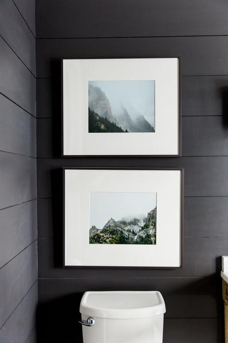 bathroom designs trends of 2019 statement pieces of art on black shiplap wall