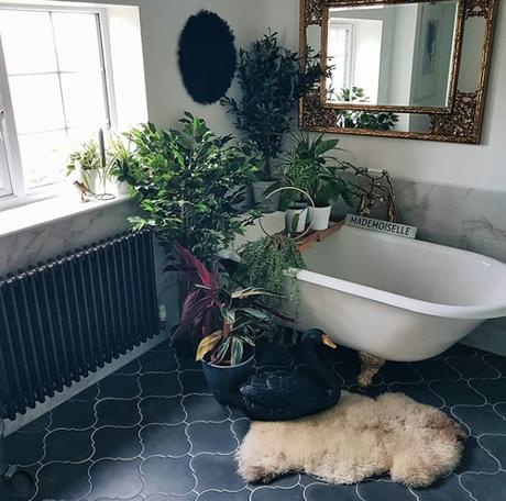 Claw foot bath with lush tropical house plants. Image by @wiltshirefarmhouse