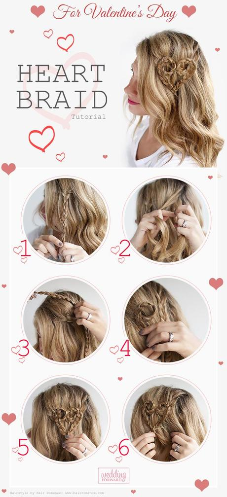 valentines day hairstyles tutorial heart braid