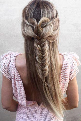 valentines day hairstyles half up half down heart shaped blonde hair and braids nstarck