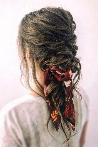 valentines day hairstyles silk scarf updo on medium dark hair cruzmakeup