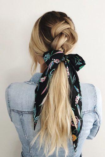 valentines day hairstyles volume french braid and long blonde ponytail with green ribbon thisislaurendavis