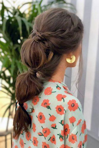 valentines day hairstyles casual braided crown and ponytail on long dark hair beny_sanz