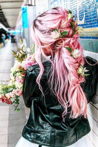 valentines day hairstyles long pink hair half up half down with braids and white roses cruzmakeup