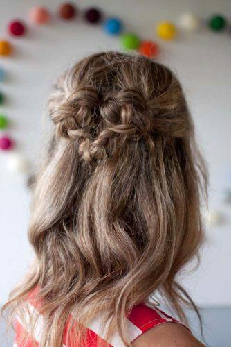 valentines day hairstyles curly brown hair half up with braided heart hairromance
