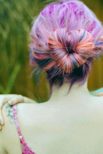 valentines day hairstyles on colorful hair high heart shaped bun shell de mar