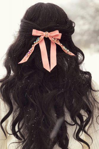 valentines day hairstyles long dark curly hair with pink ribbon the_sugared_lemon