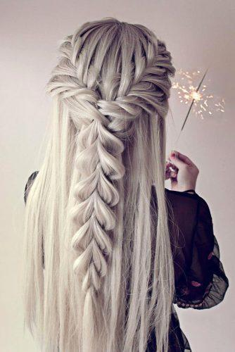 valentines day hairstyles long white hair with half up half down and braids another_braid