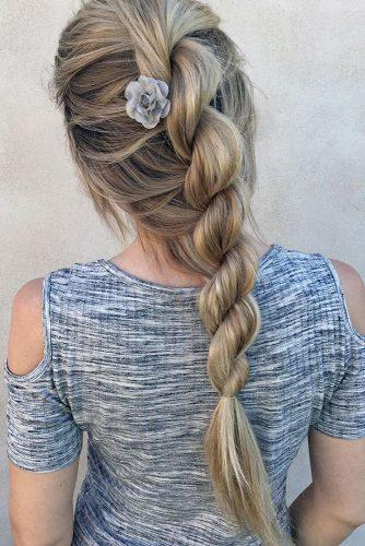 valentines day hairstyles spiral braid on long blonde hair nstarck