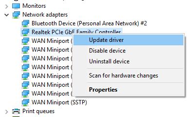 windows 10 update network adapters missing