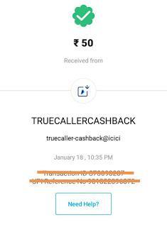 truecaller upi offer cashback proof
