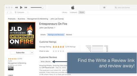 find the tab to leave the iTunes Podcast Review