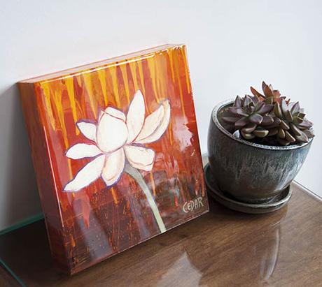 Lotus Study 4. 10″ x 10″, Oil & Resin on Wood, © 2017 Cedar Lee