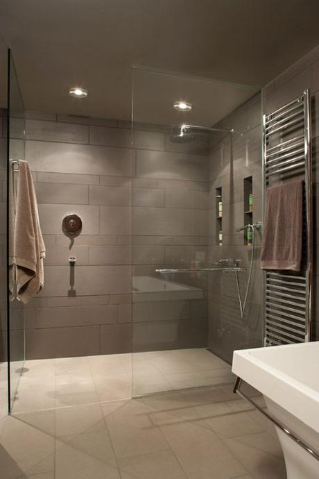 walk in showers glass panel large format tiles in gray
