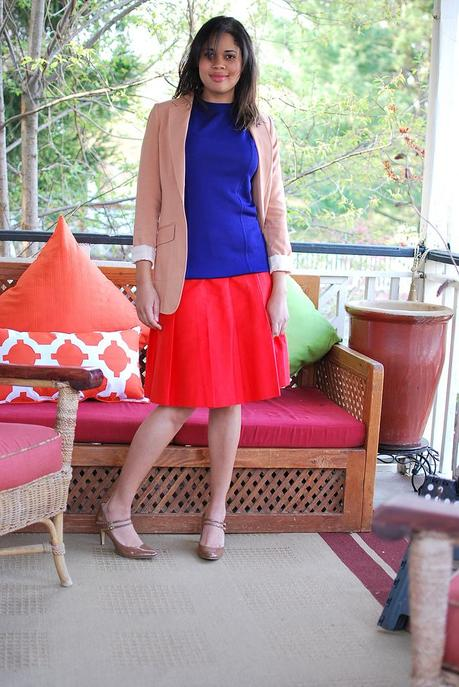 colorblocking blue red peach outfit