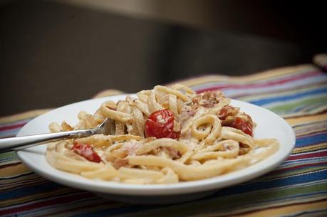 Fettucine Carbonara with Roasted Tomatoes