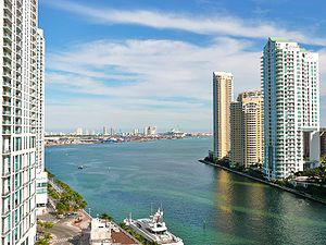 The mouth of the Miami River at Brickell Key.