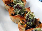 Baked Wonton Cups with Queso, Southwestern Chicken Salad Cranberry Guacamole