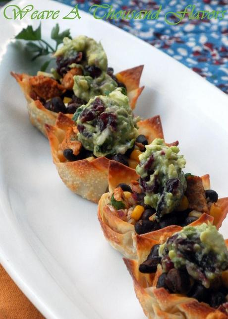 Wonton cups with Southwestern Chicken Salad - 02