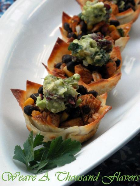 Wonton cups with Southwestern Chicken Salad - 03