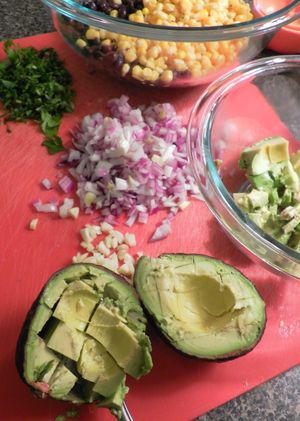 Wonton cups with Southwestern Chicken Salad - Prepare Ingredients