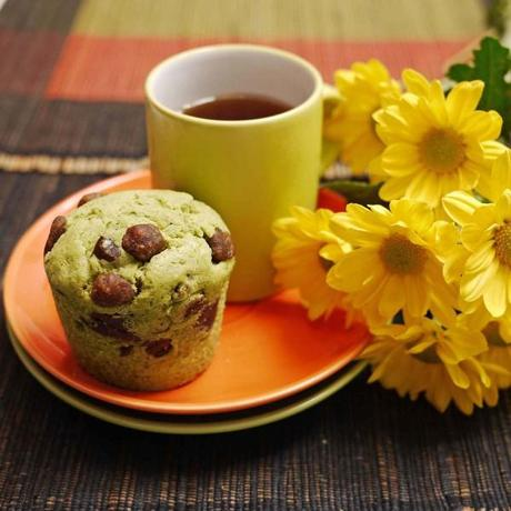 Green Tea Cupcakes with Red Bean Paste