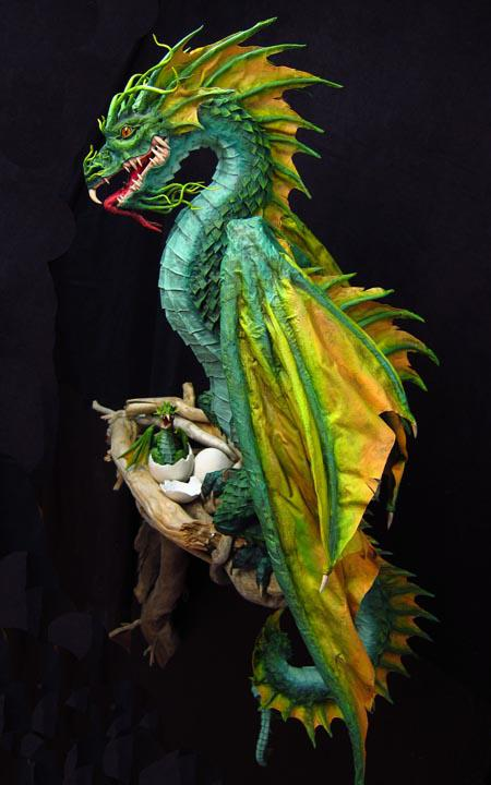 new paper mache dragon finished paperblog. Black Bedroom Furniture Sets. Home Design Ideas
