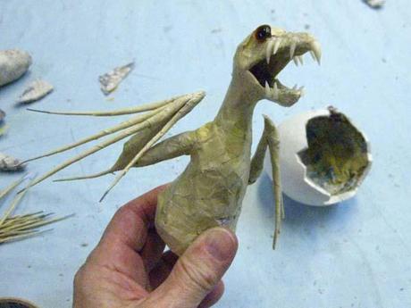 New Paper Mache Baby Dragon