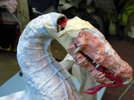 New Paper Mache Dragon- breastplates, start of the head