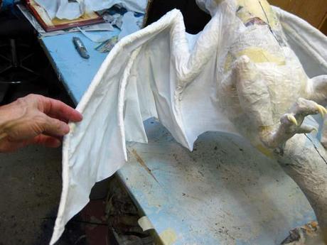 Paper Mache Dragon Pair- Wings