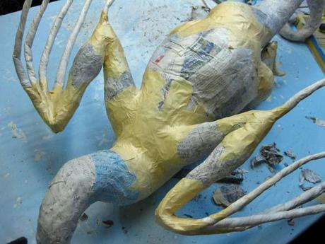 New Paper Mache Dragon- more assembly!