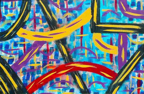 One of my earliest abstract paintings Hiway - Acrylic on canvas board Rod Jones Artist