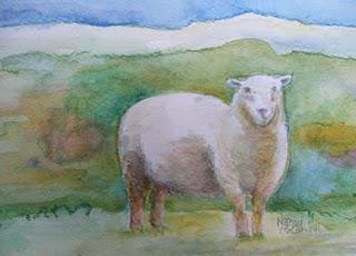 Sheep Picture by Craftlit Friend Amy & Watercolor