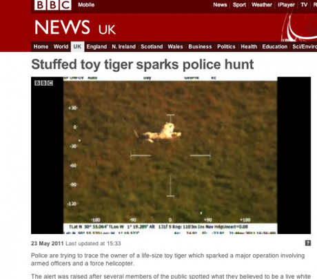 BBC News: Stuffed toy tiger sparks police hunt