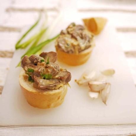 Baguette and Mushroom Crostini