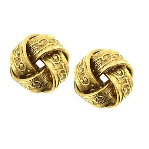 vintage gold love knot earrings