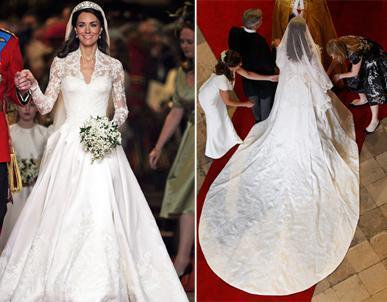 Kate Middleton Wedding Dress front & back view