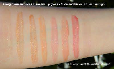 GIORGIO ARMANI Gloss d' ARMANI Lip Gloss Swatches