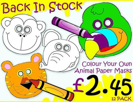 Children`s Colour In Activity Masks Now Back In Stock @ Party Options
