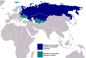 Countries where the Russian language is spoken.