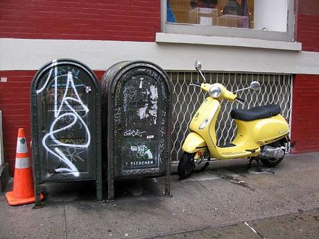 A-Yellow Scooter-and-Mailboxes-in-Soho-New-York