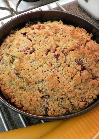 Strawberry Crumb Cake-Bake in oven