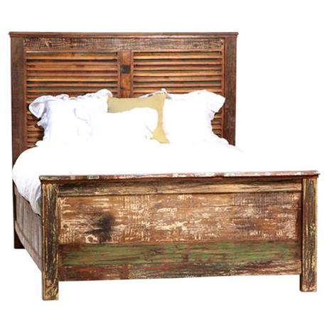 Reclaimed painted wood bed