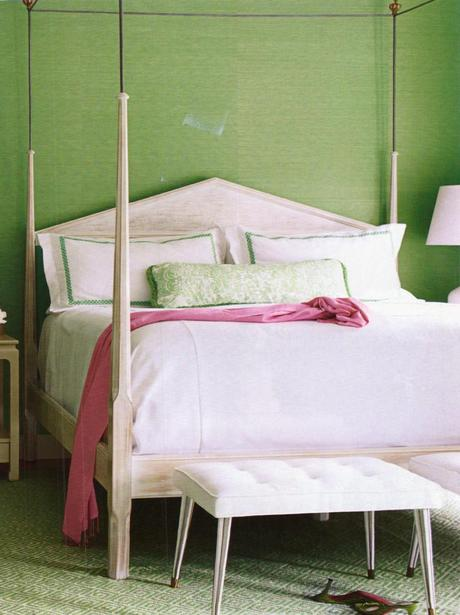 white wood and metal poster bed