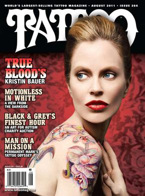 Kristin Bauer's body art graces Tattoo Magazine Cover