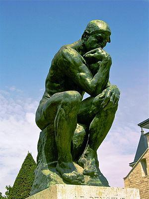 A photo of The Thinker by Rodin located at the...