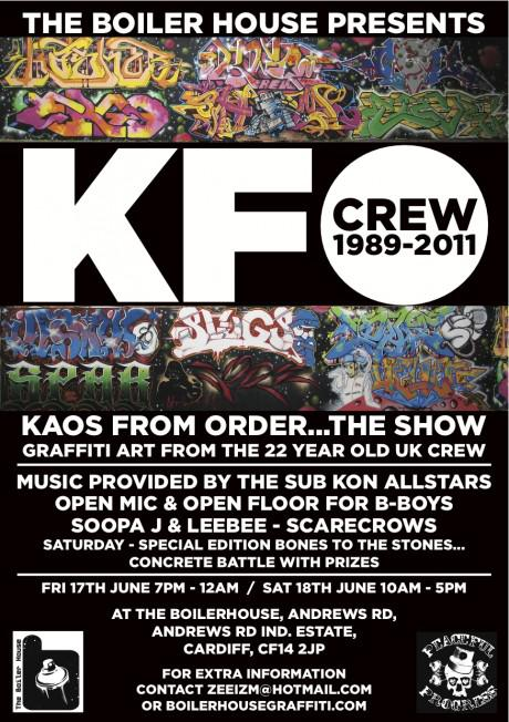 KFO flyer jpeg 460x652 Exhibition: KFO Graffiti at The Boiler House Gallery, Cardiff