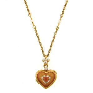 fiori heart locket necklace